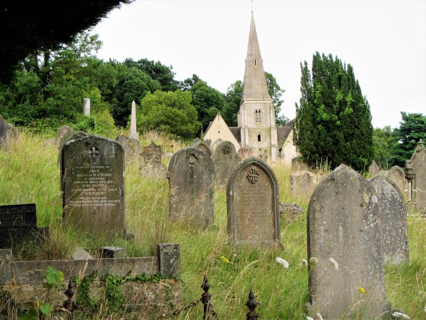 Bisley Rd cemetery chapel + gravestones _ C Aistrop