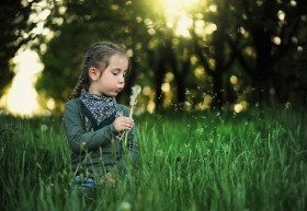 Photo - girl blowing dandelion clock Bessi